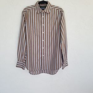 Robert Graham Striped Shirt Brown/Blue SZ L